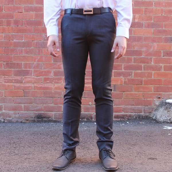 New England Code Charcoal Wool Blend Trouser Front