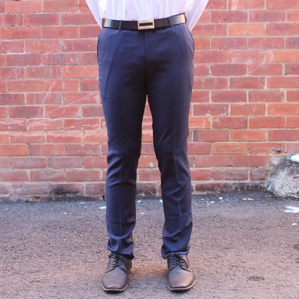 New England Code Navy Wool Blend Trouser front