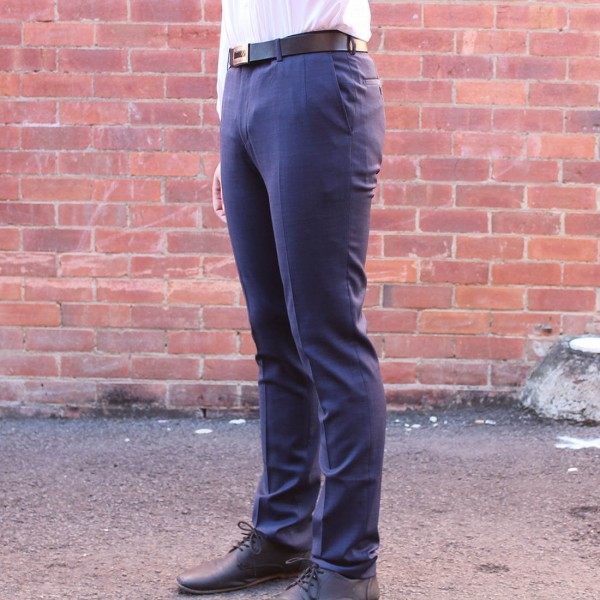 New England Code Navy Wool Blend Trouser side