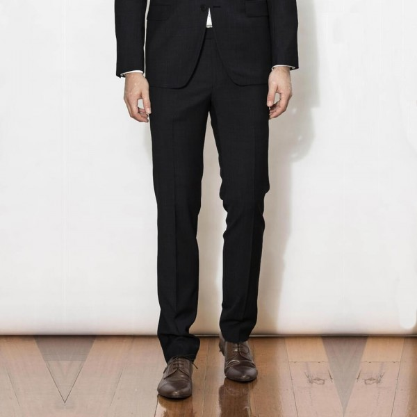 New England Code Black Slim Suit Trouser