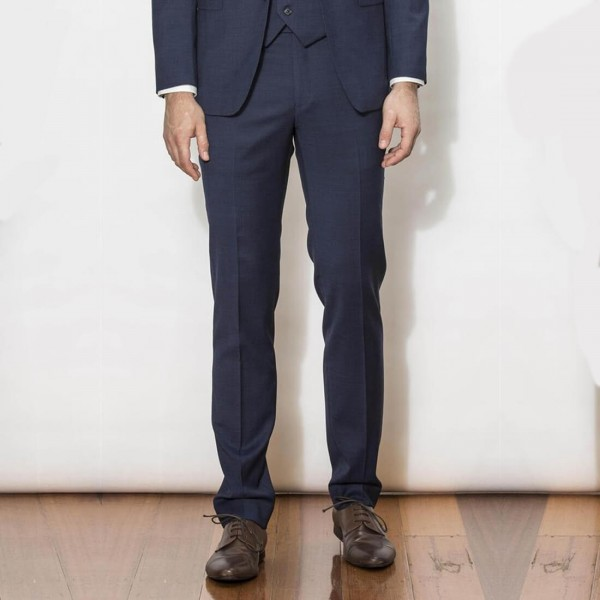 New England Code Navy Slim Suit Trousers