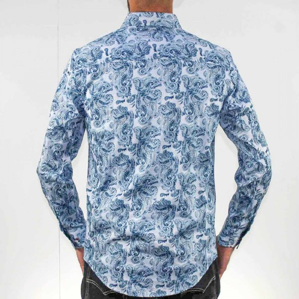 John Lennon By English Laundry Long Sleeve Paisley Shirt Back