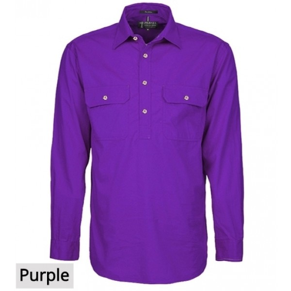 Ritemate Pilbara CLosed Front Shirt - Purple