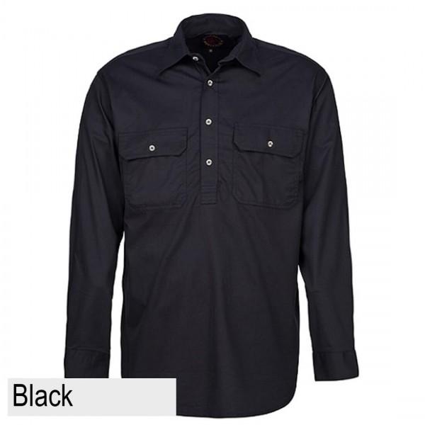 Ritemate Pilbara CLosed Front Shirt - Black