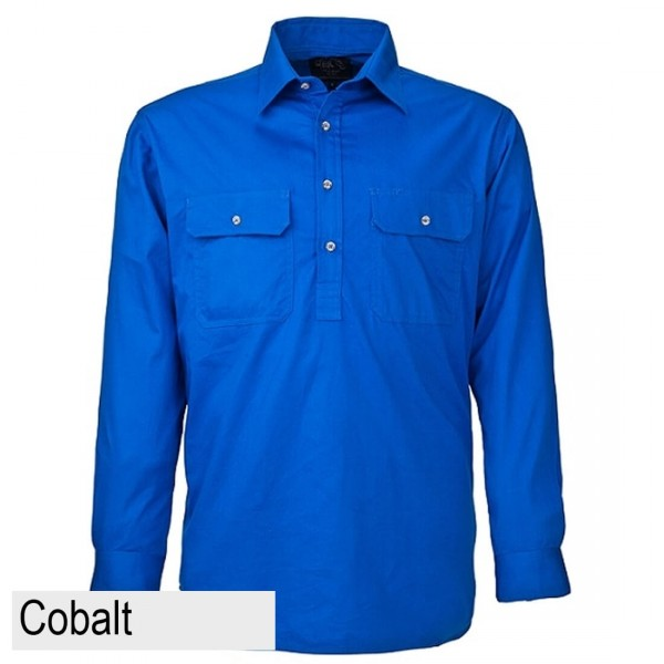 Ritemate Pilbara CLosed Front Shirt - Cobalt