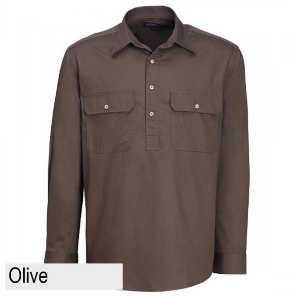 Ritemate Pilbara CLosed Front Shirt - Olive