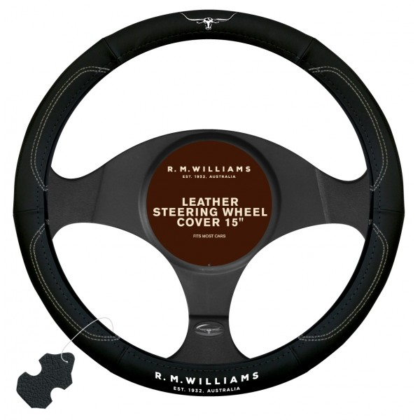 "R.M.Williams 15"" Leather Steering Wheel Cover"