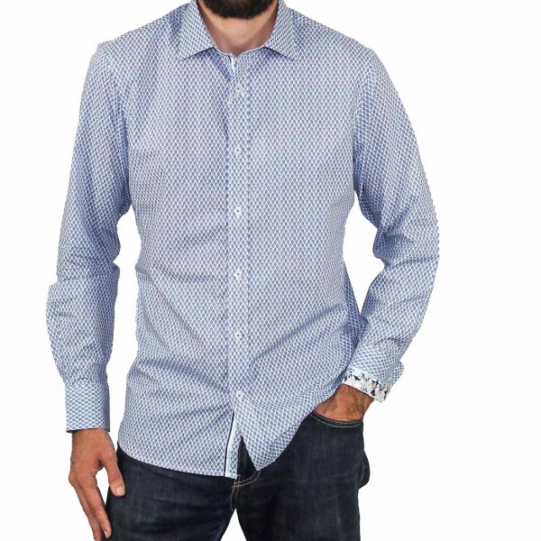 James Harper Long Sleeve Rowe Turtle Geo Shirt Front