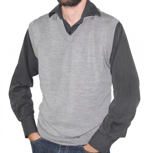 Sovrano Merino Wool Vest Silver
