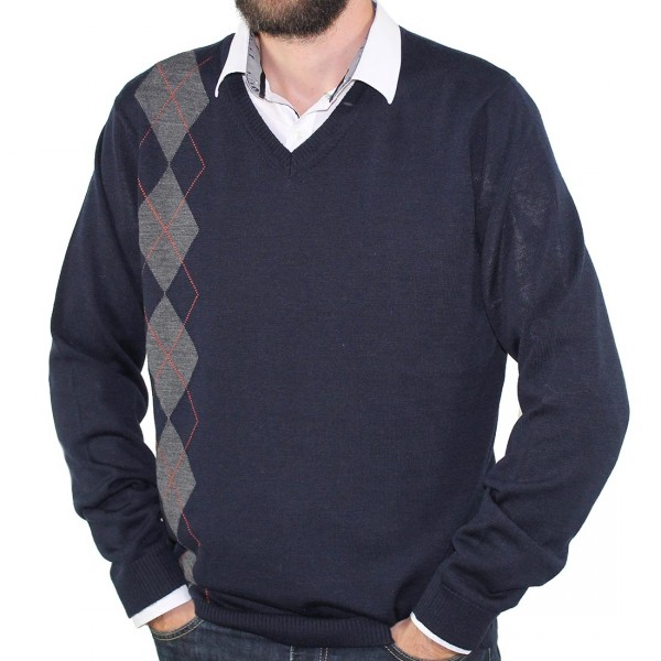 Sovrano V Neck Argyle Jumper