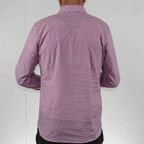 James Harper Long Sleeve Square Geo Shirt Back