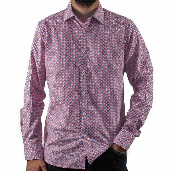 James Harper Long Sleeve Square Geo Shirt Front