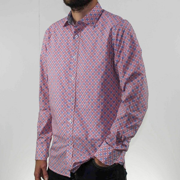 James Harper Long Sleeve Square Geo Shirt Side