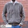 Anset Acrylic Wool Cardigan Coffee Front