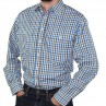 Bisley Long Sleeve Check Poly/Cotton Shirt Blue White