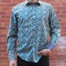 David Smith Leaf Print Long Sleeve Shirt Front