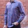 David Smith Purple Paisley Print Long Sleeve Shirt Side