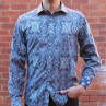 David Smith Blue Paisley Print Long Sleeve Shirt Front