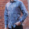David Smith Blue Paisley Print Long Sleeve Shirt Side