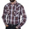 Long Sleeve 2PKT Western Shirt - Burgundy - side